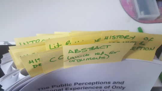 Sticky notes marking out sections of my thesis