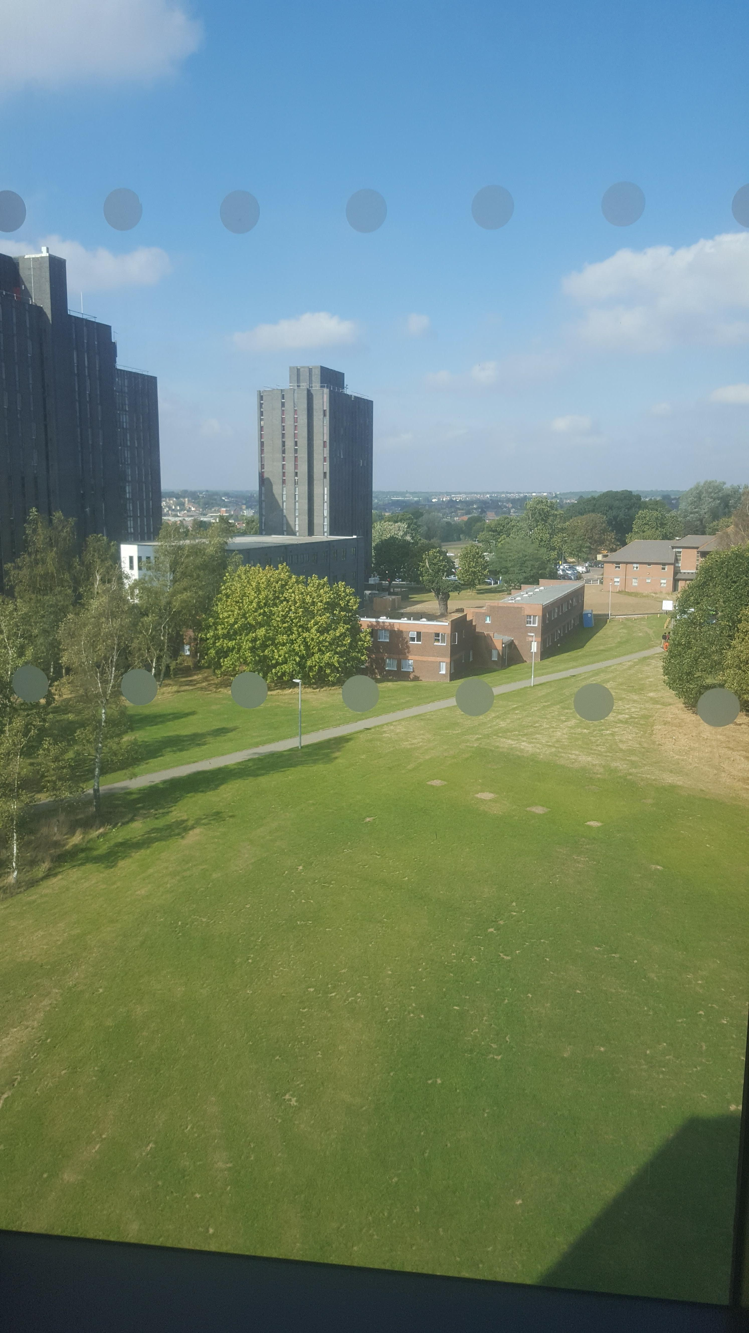 The view of Essex University from the Albert Sloman Library